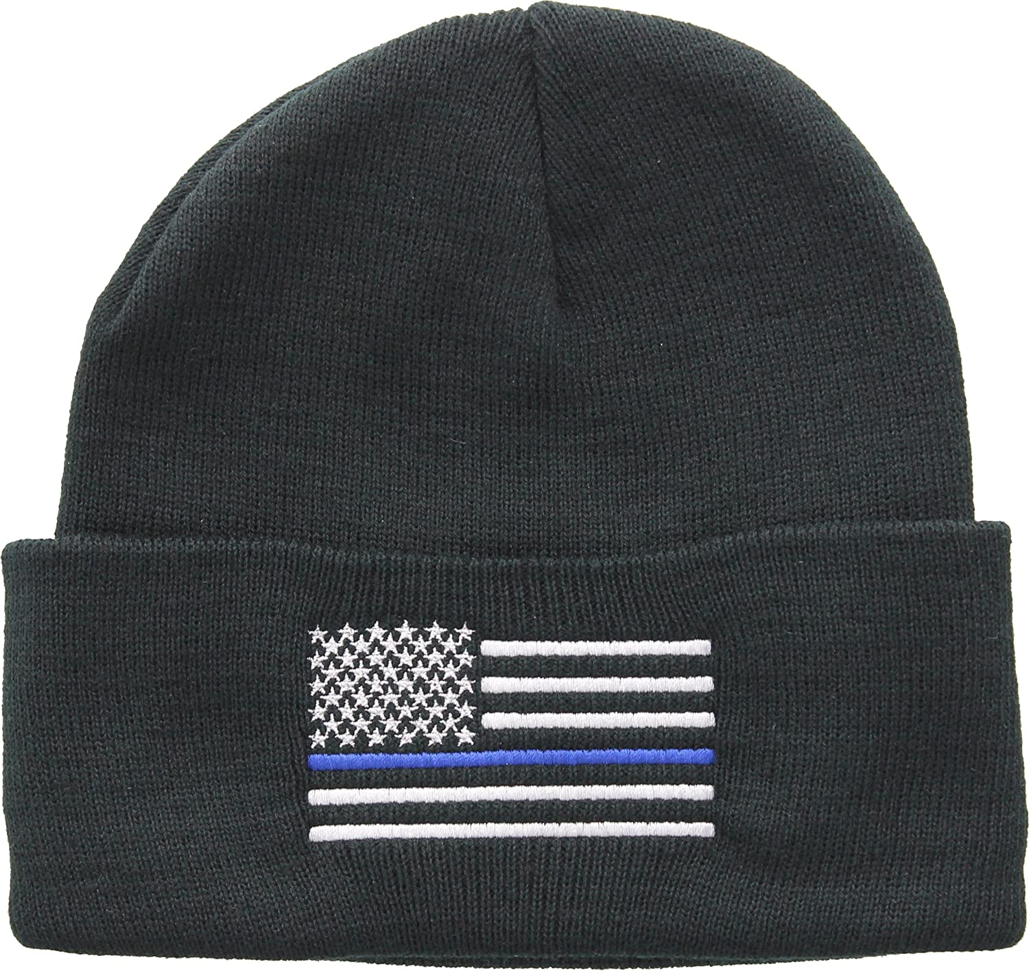 Amazon.com  Army Universe Thin Blue Line USA American Flag Support The  Police Acrylic Winter Watch Cap - Black  Clothing 3c8b715b268