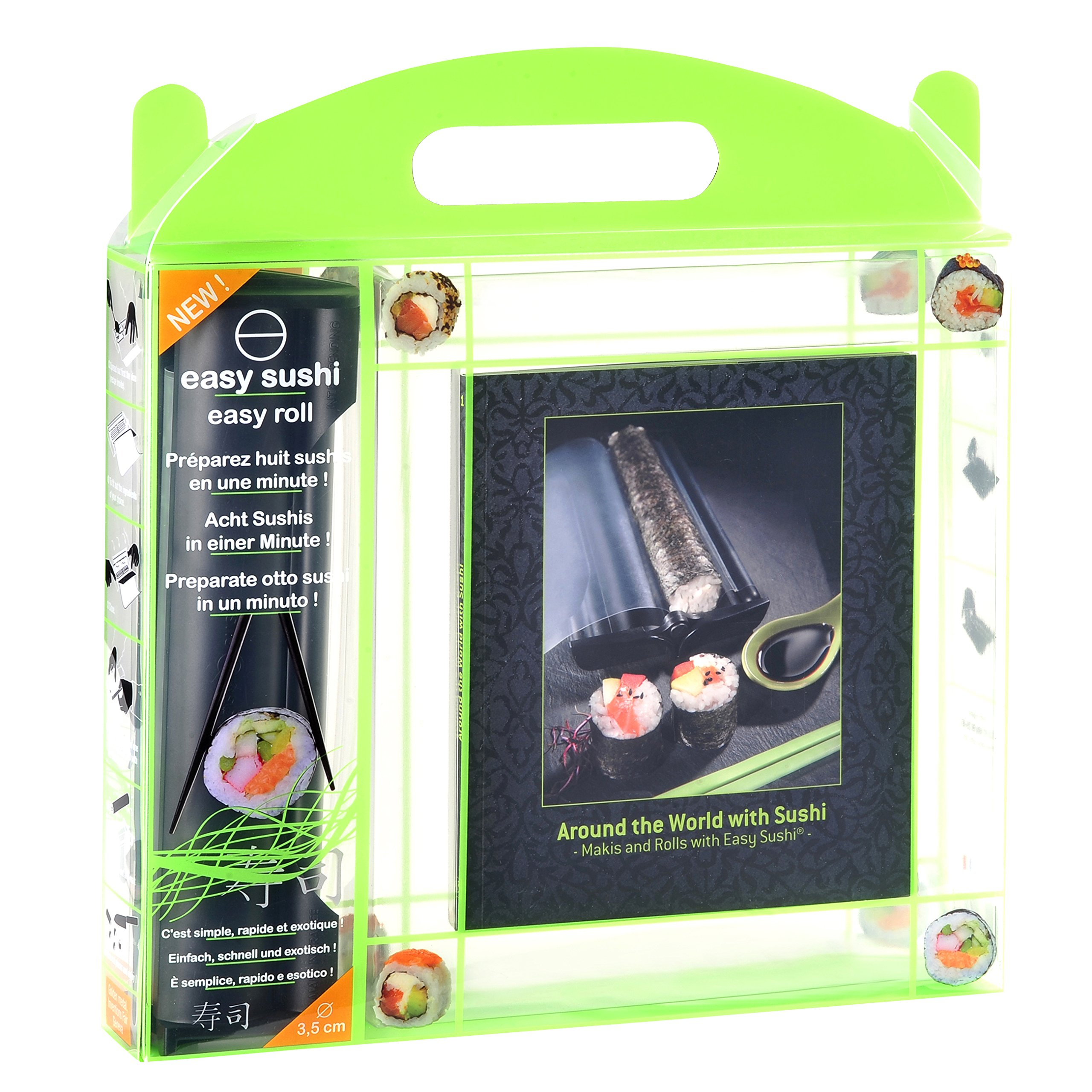 Legnoart Spicy Easy Sushi Gift Set Roller with Around the World with Sushi Recipe Book, 3.5 cm/1.4'', Black