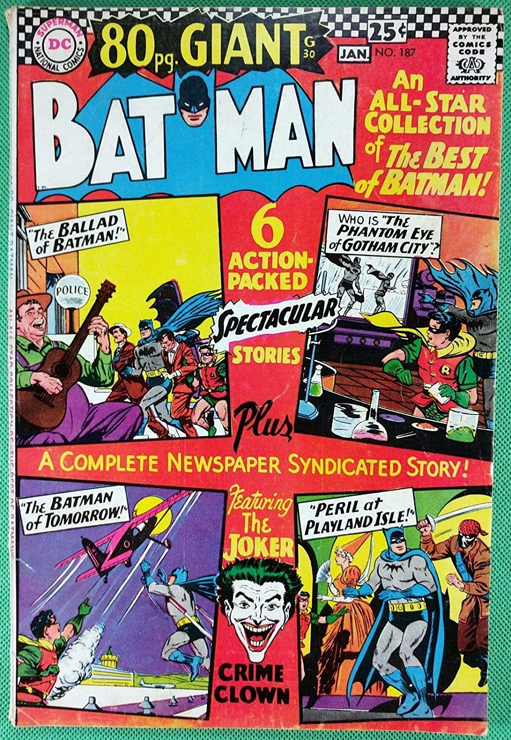 6b56961cbb98 Amazon.com  BATMAN (1940)  187 FN (6.0) Joker cover and story 80 page  giant  Entertainment Collectibles