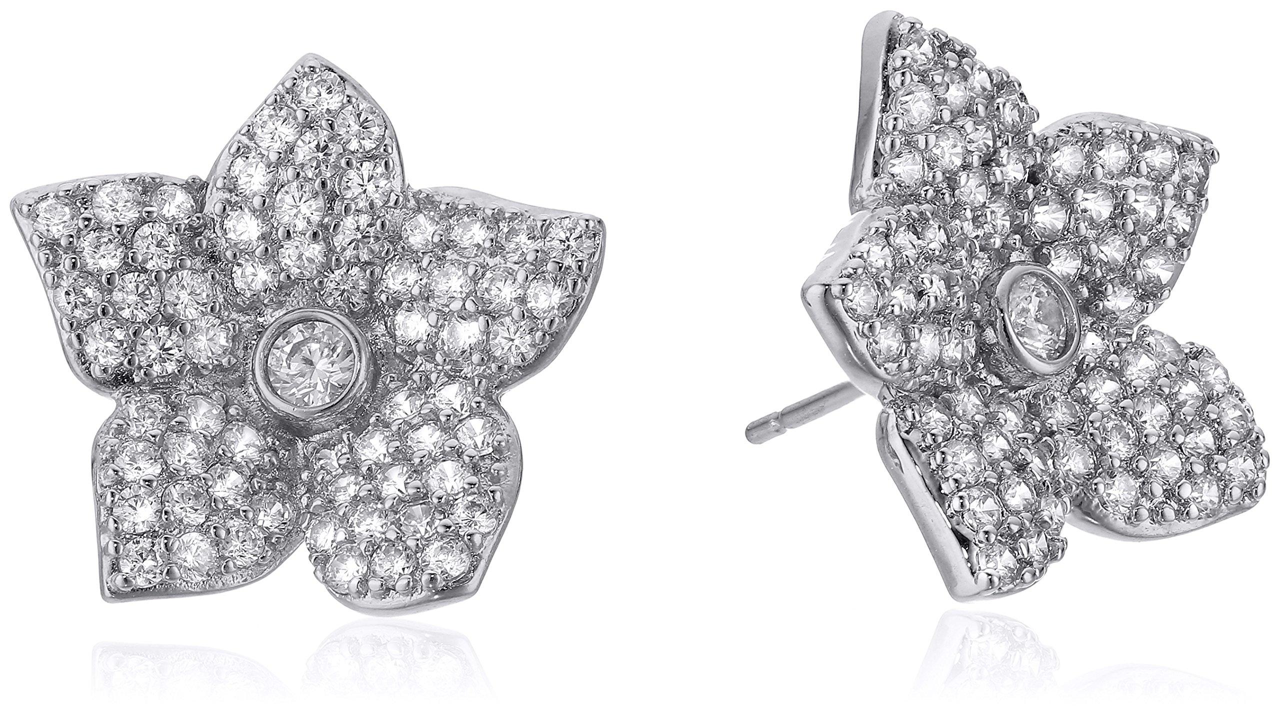 kate spade new york''Pave Bloom Studs'' Blooming Pave Bloom Clear/Silver Stud Earrings