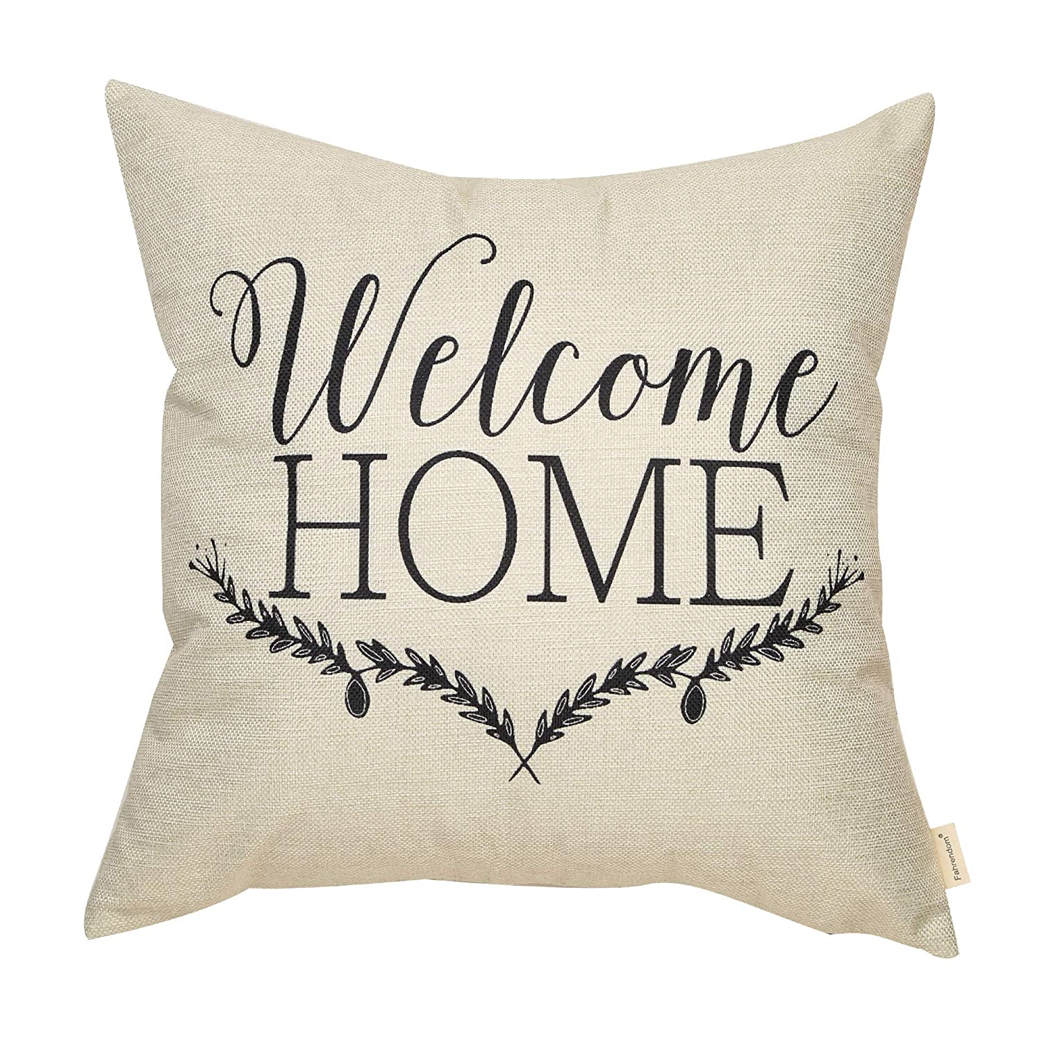 Fahrendom Rustic Welcome Home Olive Branch Farmhouse Style Spring Sign Cotton Linen Home Decorative Throw Pillow Case Cushion Cover with Words for Sofa Couch, 18 x 18 in