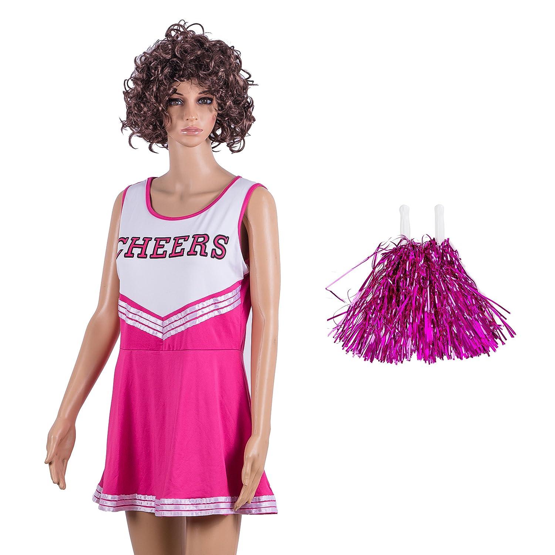 Damen Redstar – Cheerleader-Kostüm mit Pompons,Fantasiekleid, Kostüm für Sport, Highschool, Musical, Halloween –6Farben, Größen 34–42 mehrfarbig schwarz Ladies 6-8 UK Fantasiekleid