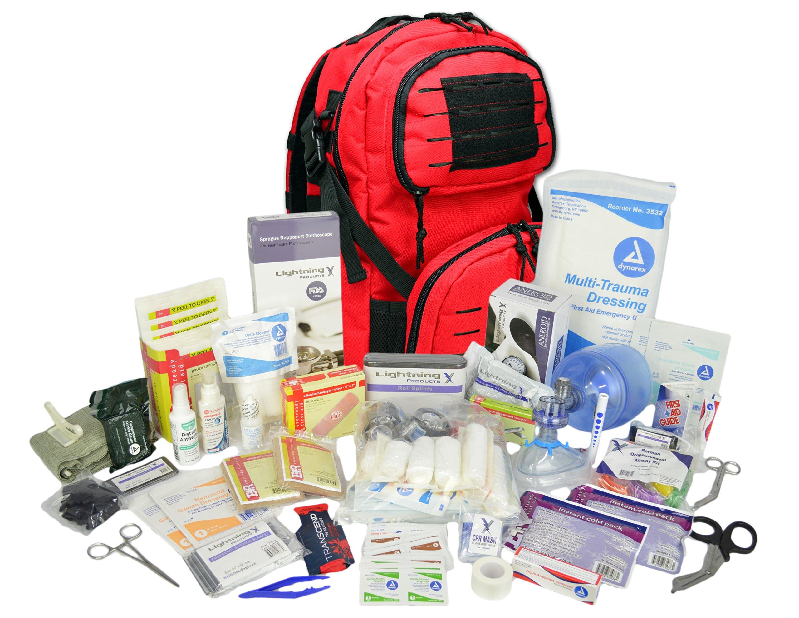 Lightning X Stocked Modular Trauma & Bleeding First Aid Responder Medical Backpack + Kit (Red)