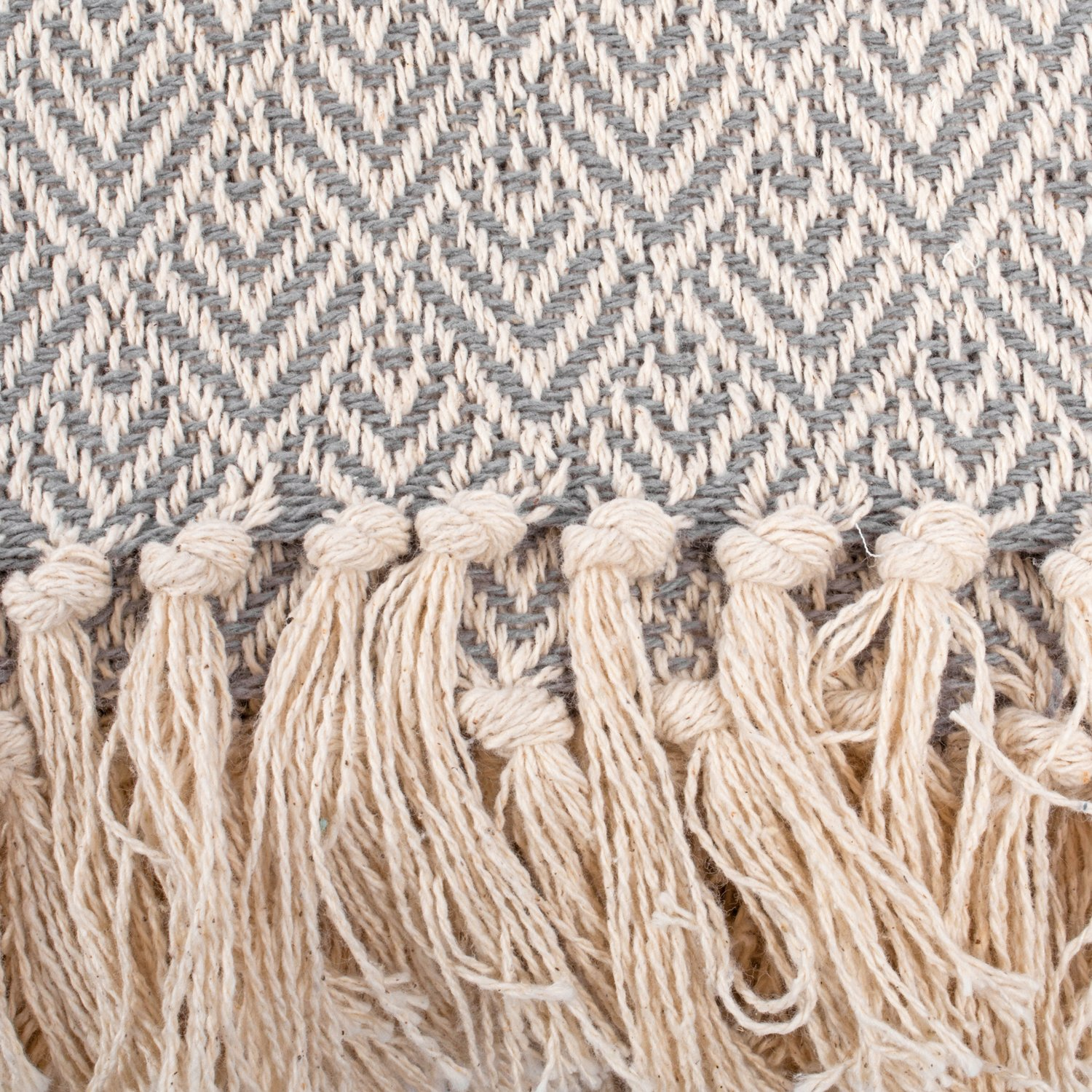 DII Rustic Farmhouse Cotton Diamond Blanket Throw with Fringe for Chair, Couch, Picnic, Camping, Beach, Everyday Use, 50 x 60 - Diamond Gray by DII (Image #3)