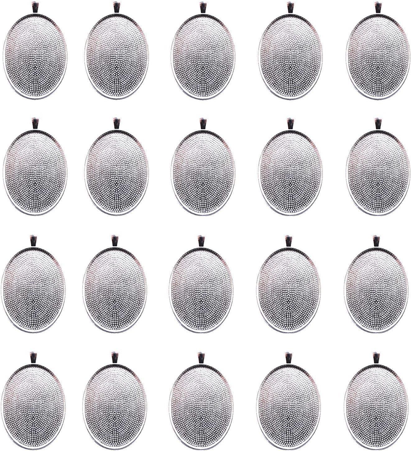 IGOGO 20 PCS Oval Pendant Trays Pendant Blanks Cameo Bezel Cabochon Settings - 30x40 mm Silver Color