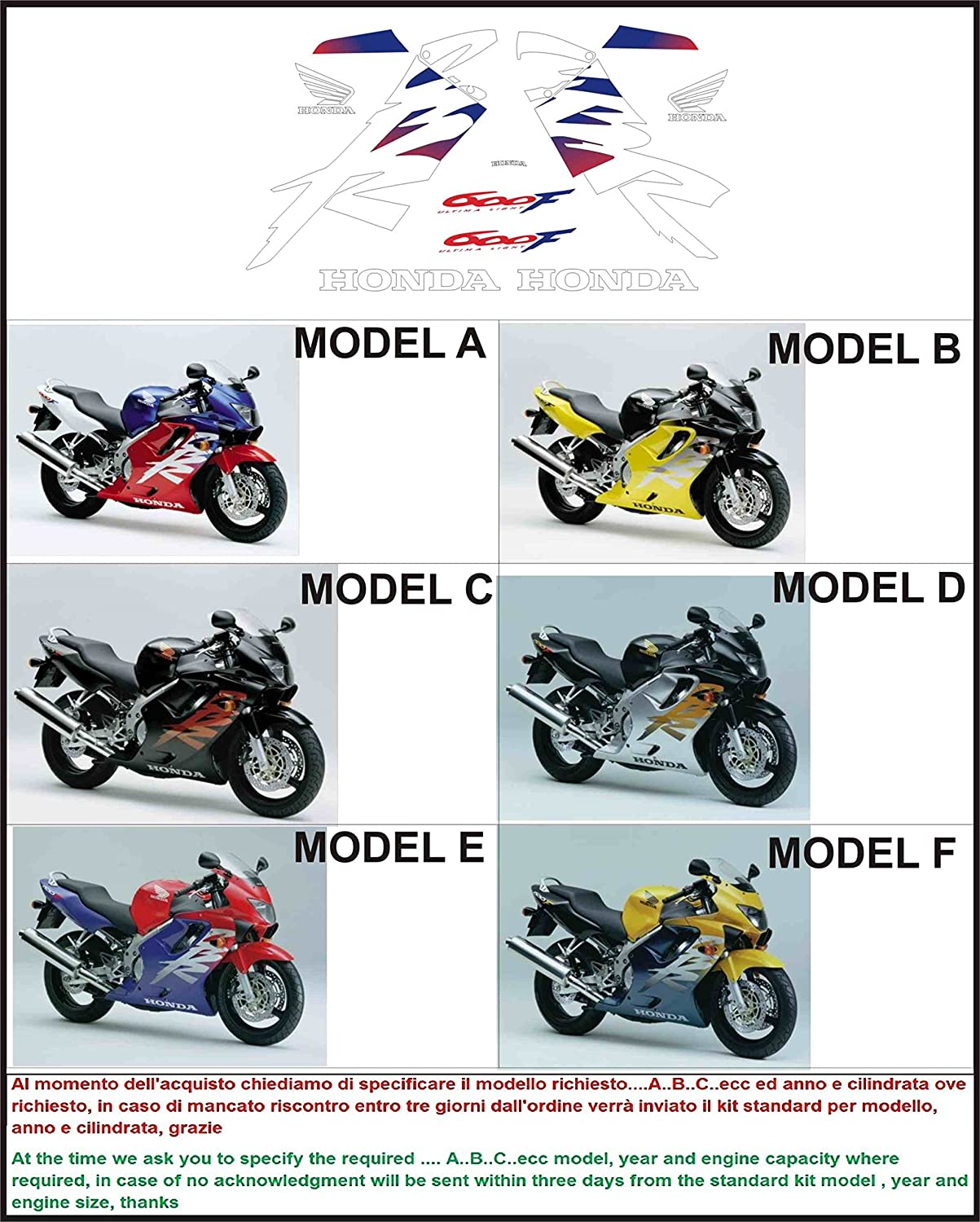 ability to customize the colors Kit adesivi decal stickers HONDA CBR 600 F 1999