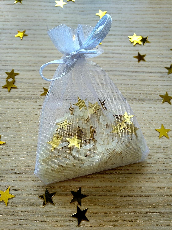 Bolsas de organza de arroz y confeti modelo star para bodas ...
