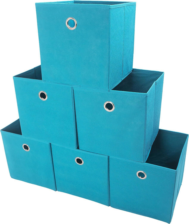 Amelitory Storage Bins Foldable Cube Organizer Fabric Drawer Set of 6 Lake Blue
