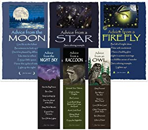 Advice from Nature Bookmark & Art Card Nightlife Set- 3 Bookmarks: Owl, Raccoon, Night Sky - 3 Art Cards: Firefly, Star, Moon by Your True Nature