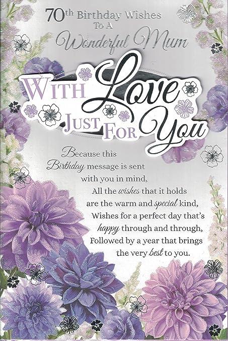 Mum 70th Birthday Card To A Wonderful Happy Cottage Garden Design Lovely Verse Amazoncouk Kitchen Home