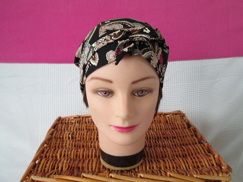 Foulard, turban chimio, bandeau pirate au féminin imprimé noir / marron