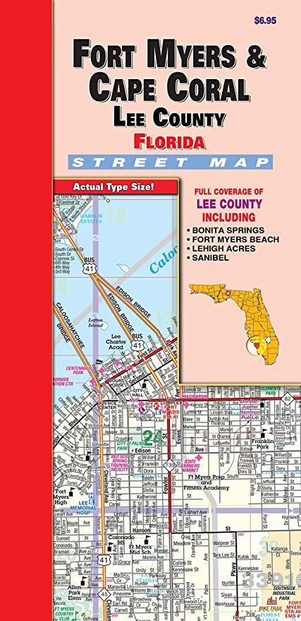 Map Of Lee County Florida.Amazon Com Ft Myers Lee County Fl Fold Map Office Products