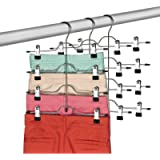 Zober Space Saving 4 Tier Skirt Hanger with Adjustable Clips (3 Pack) 4-on-1 Hanger, GAIN 50% More Space, Reliable Non…