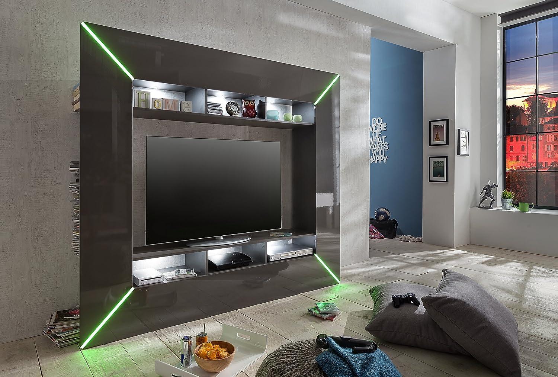 Trendteam SC95121 Wohnwand TV Möbel Grau Hochglanz, BxHxT 201x180x35 Cm:  Amazon.de: Küche U0026 Haushalt