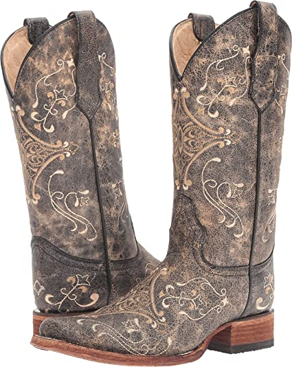 df708e31a13 Corral Boots Women L5078 Brown/Bone 5.5 B M Leather Square Toe Roper Heel