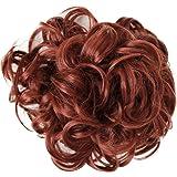 PRETTYSHOP XXXL Hairpiece Hair Wrap Scrunchie Scrunchy Updos, VOLUMINOUS, Curly Messy Bun, Copper red # 350 HW20