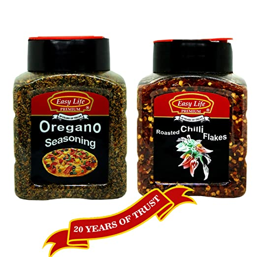 Easy Life Chefs Combo of Oregano Seasoning 250g and Roasted Chilli Flakes 200g (Pizza Chef's First Choice for Their Pantry!)