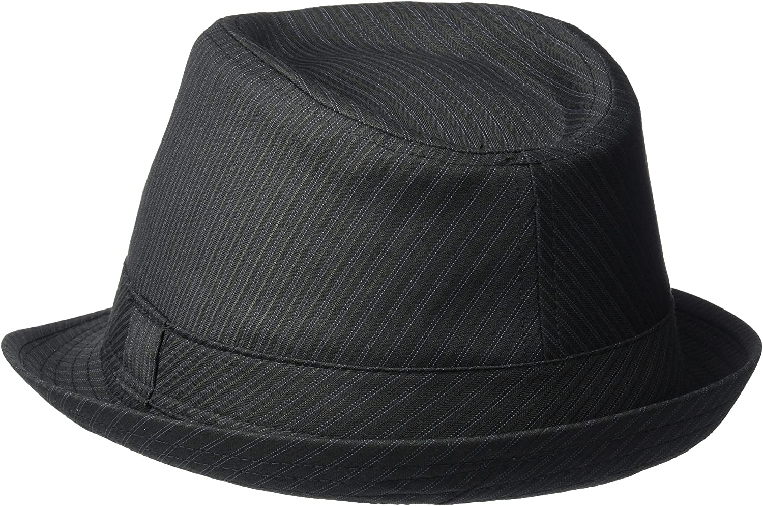 Medium Henschel Mens Poly//Cotton Stripe Stingy Brim Fedora Black