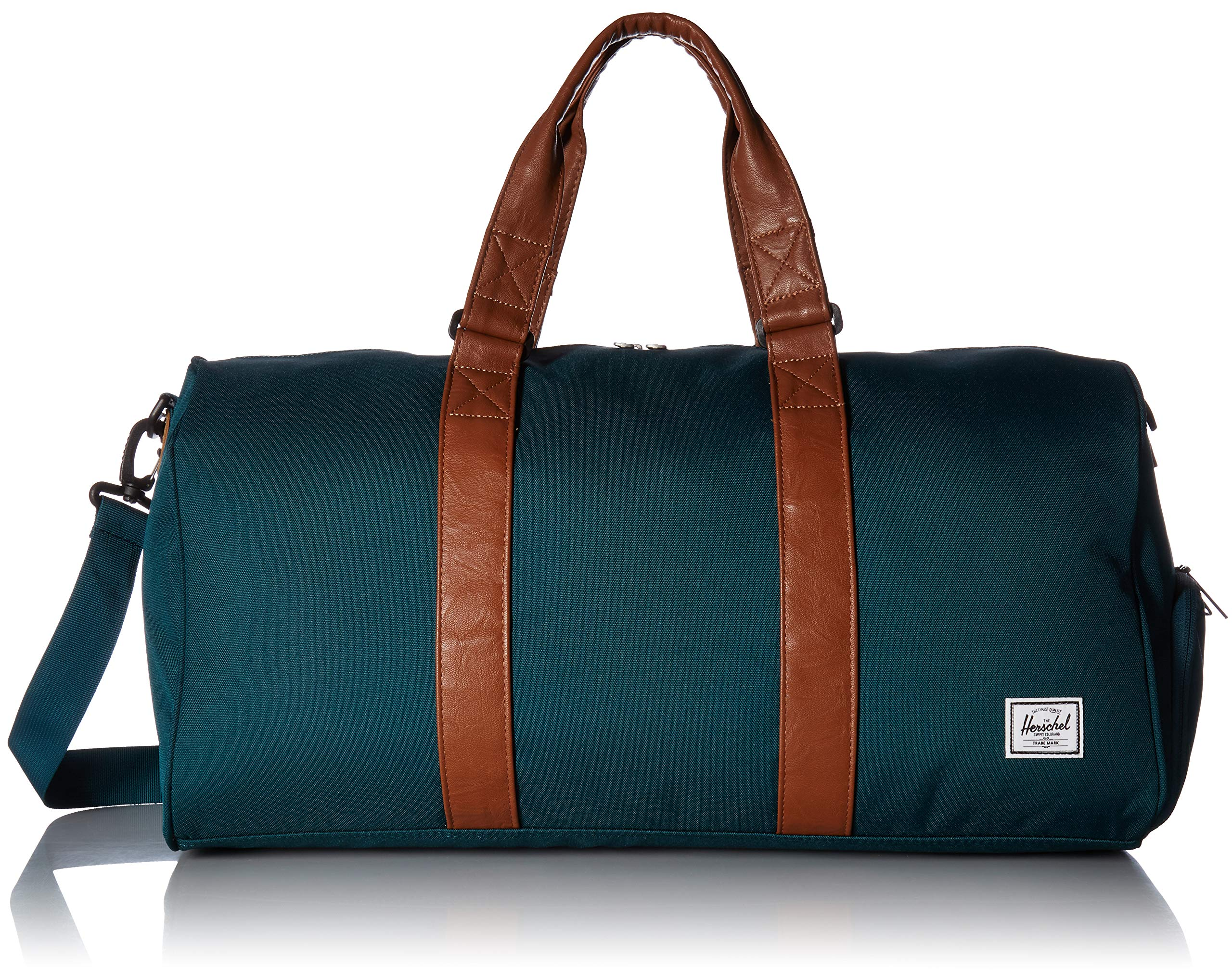 Herschel Supply Co. Novel Mid-Volume Duffel Bag, Deep Teal/Tan Synthetic Leather, One Size