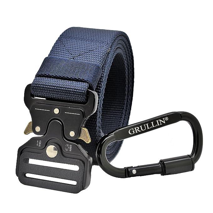 GRULLIN Heavy Duty Táctico Cinturon, Estilo Militar Web Reggers Cinturon, CQB Quick-Release Metal Hebilla Cinturón con Mosquetón…