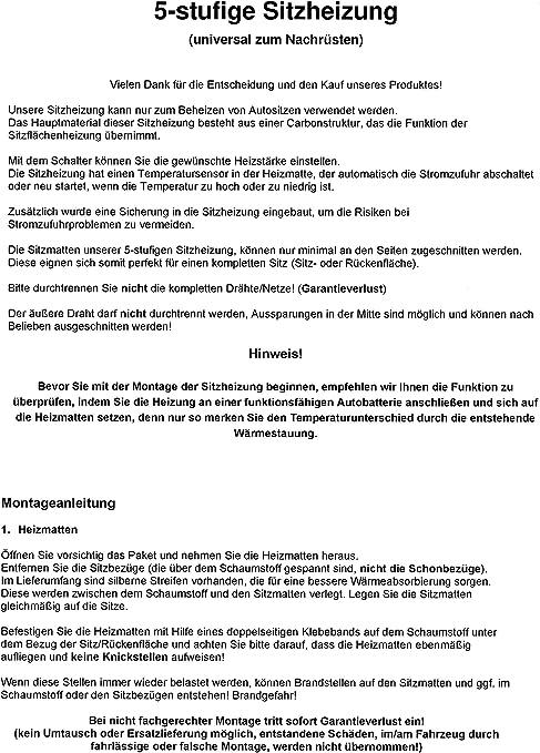 Profi Sitzheizung universal Nachrüsten 5 stufig z.B Mercedes Citan Kasten 415