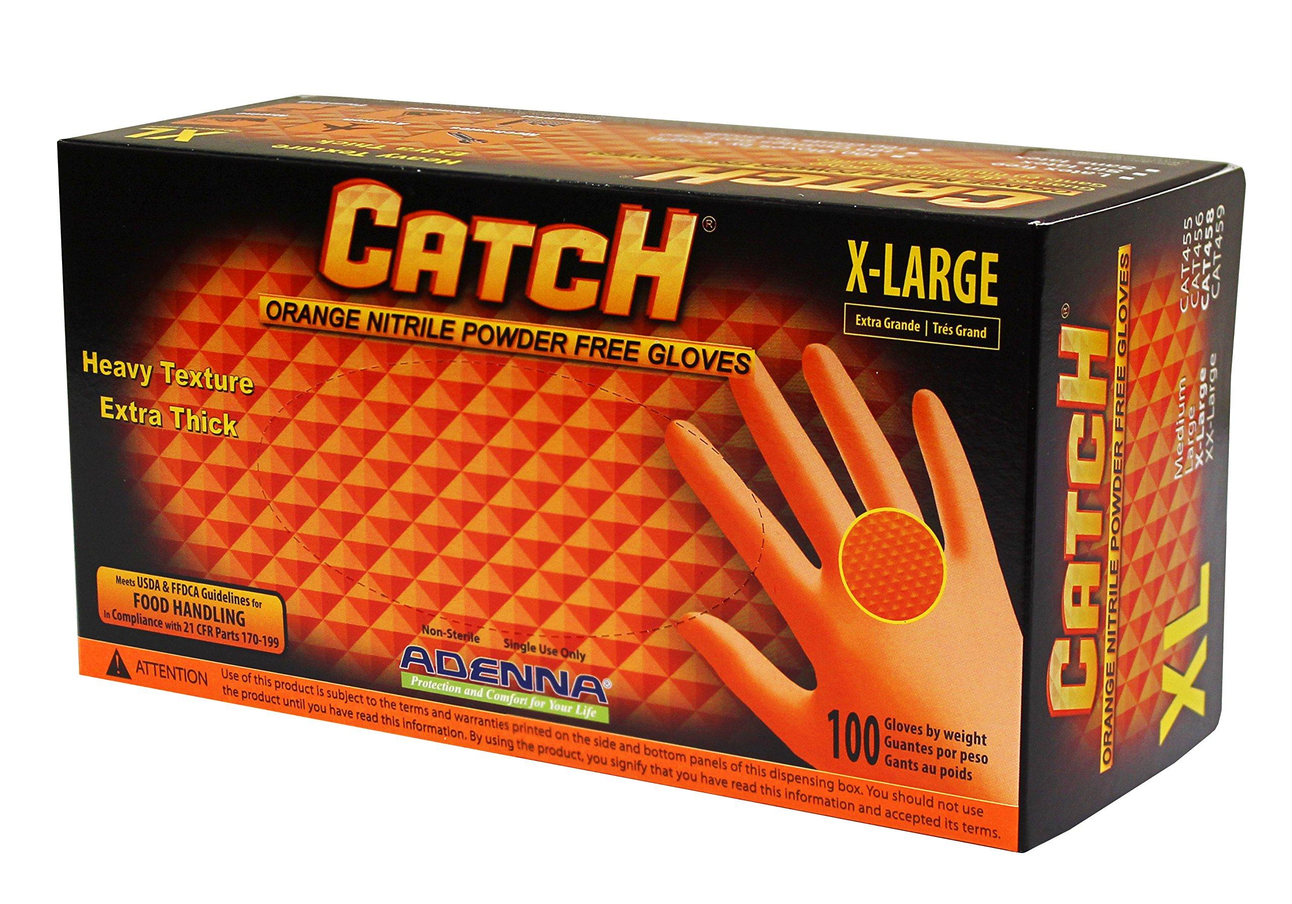 Adenna Catch 8 mil Nitrile Powder Free Gloves (Orange, X-Large) Box of 100 by Adenna