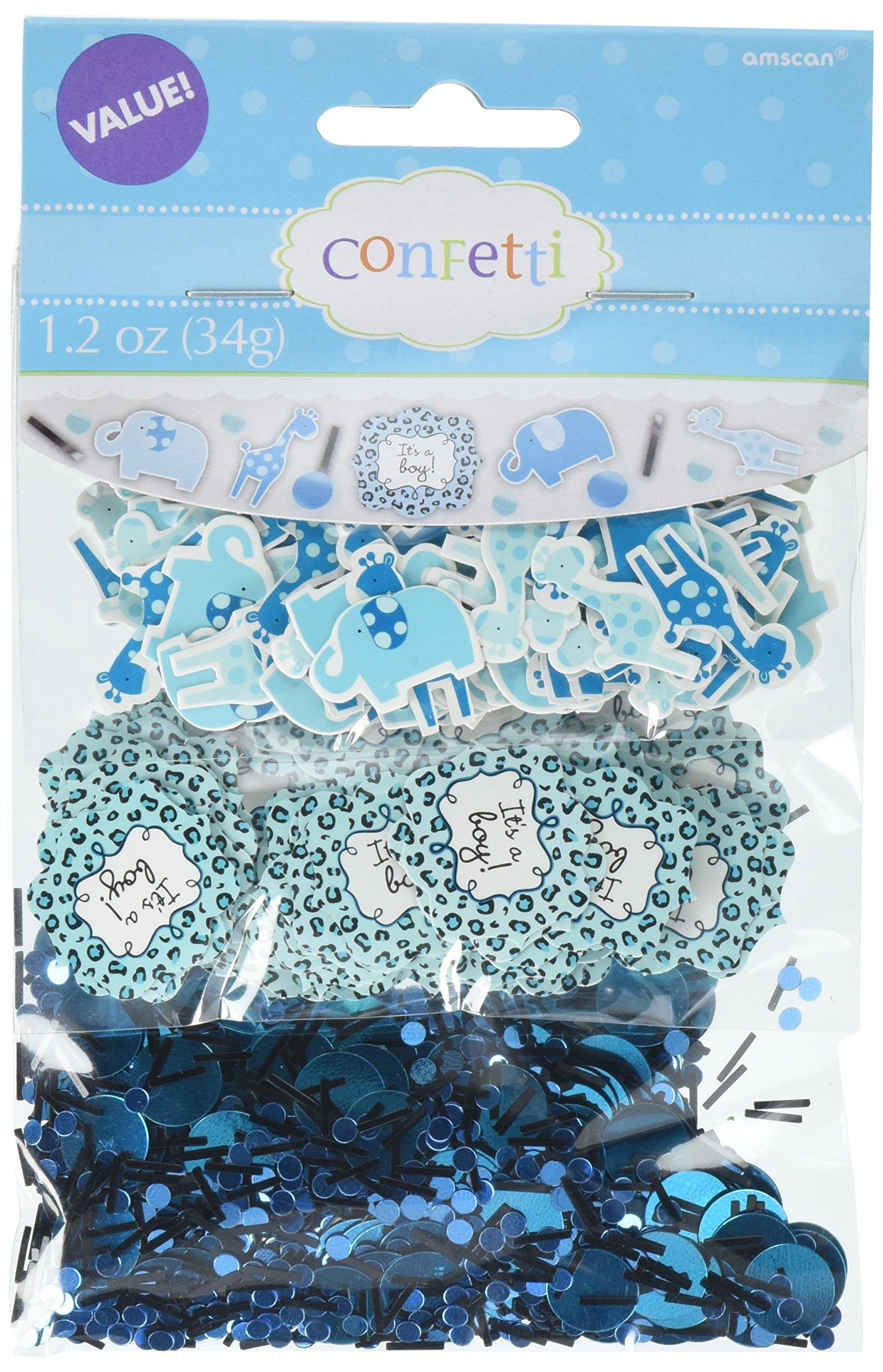 Amscan Sweet Safari Boy Baby Shower Paper Confetti Room Decoration Party Supplies (12 Piece), Blue, 1.2 Oz