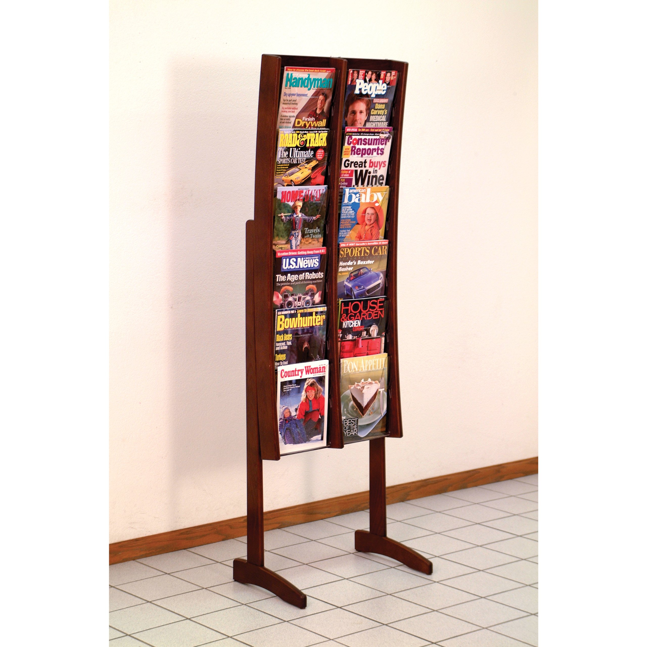 DMD Magazine and Literature Floor Display Rack, Curved, 12 Pocket, Solid Oak and Acrylic, Mahogany Wood Finish