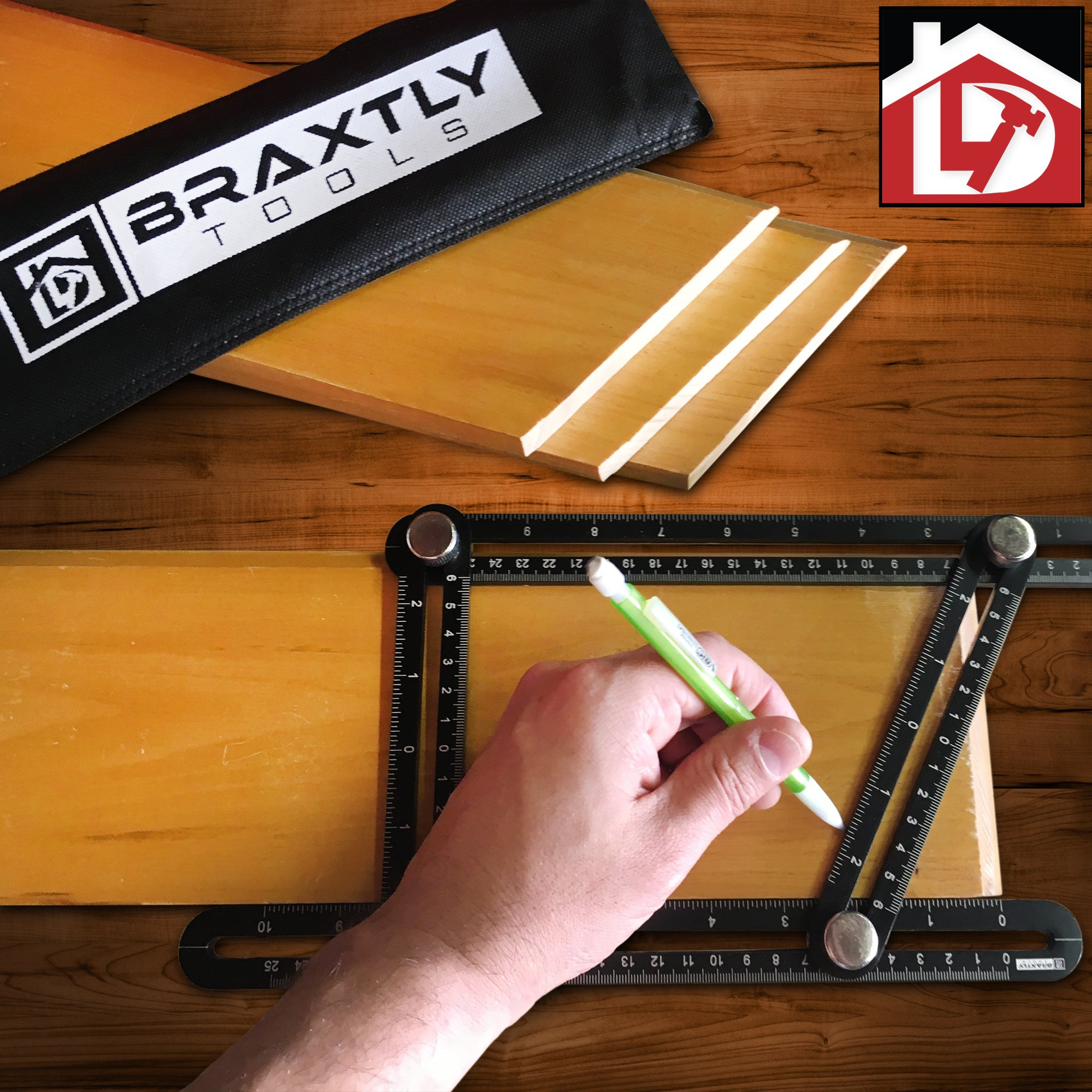 Braxtly Tools EASY ANGLE-ER HEAVY DUTY Template Tool - Ultimate Multi Angle Ruler - For Measuring Angles - Made of Premium Metal Alloy- Adjustable Knobs for Precise Measurement- w/Instruction Manual by Braxtly Tools (Image #7)