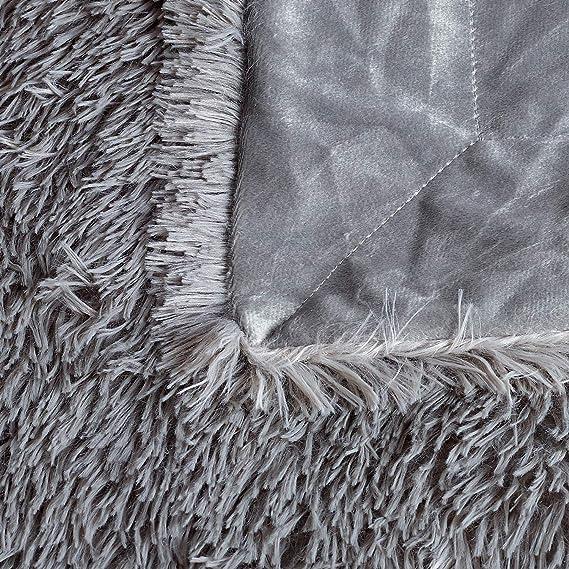 Color Blanco Azul Coche 127x152cm Larga Peluda Manta C/álida de Felpa de PV Vell/ón Cama Silla Viaje Viviland Manta Suave y Acogedora de Piel Sint/ética de para Sof/á
