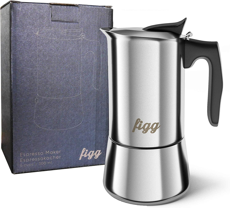 Cafetera italiana figg de acero inoxidable - 300 ml de café expreso - 6 tazas - También para la placa de inducción - Con cuchara medidora, piezas de repuesto y bolsa de transporte incluida: Amazon.es: Hogar
