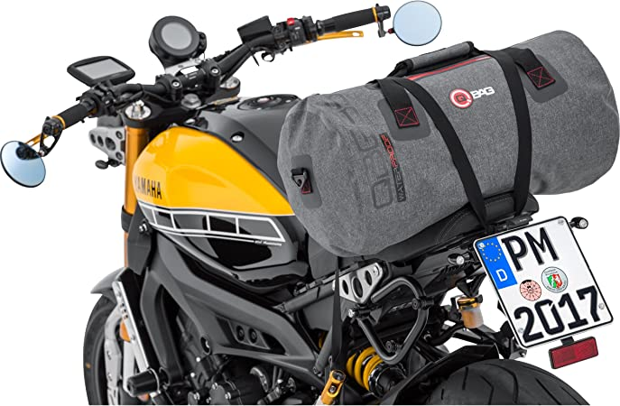 Qbag Hecktasche Motorrad Motorradtasche Hecktasche Gepäckrolle Wasserdicht 10 Netzinnentasche Inklusive Anklickbaren Schultergurt Widerstandsfähig Reißfest Grau 35 Liter Auto