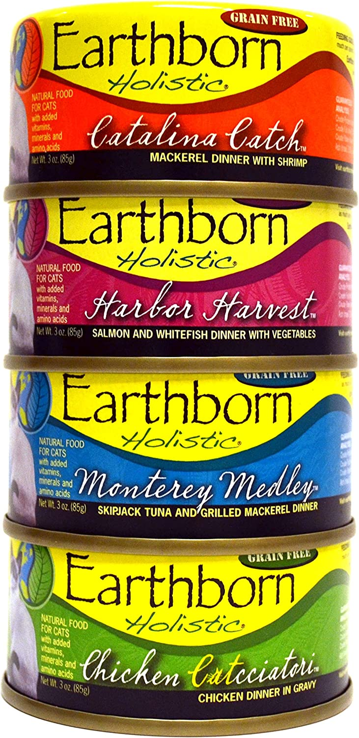 Earthborn Holistic Wet Cat Food Variety Pack - 4 Flavors (Catalina Catch, Harbor Harvest, Chicken Catcciatori, and Monterey Medley) - 3 Ounces Each (12 Total Cans)
