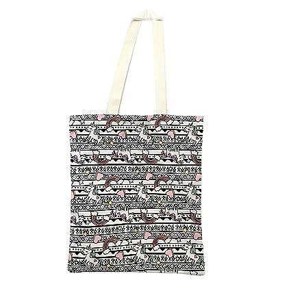 240539e07b13 Adeley Cute Pink Medium Unicorn Rainbow Reusable Canvas Shoulder Handbag  Tote Bag for Women Kids