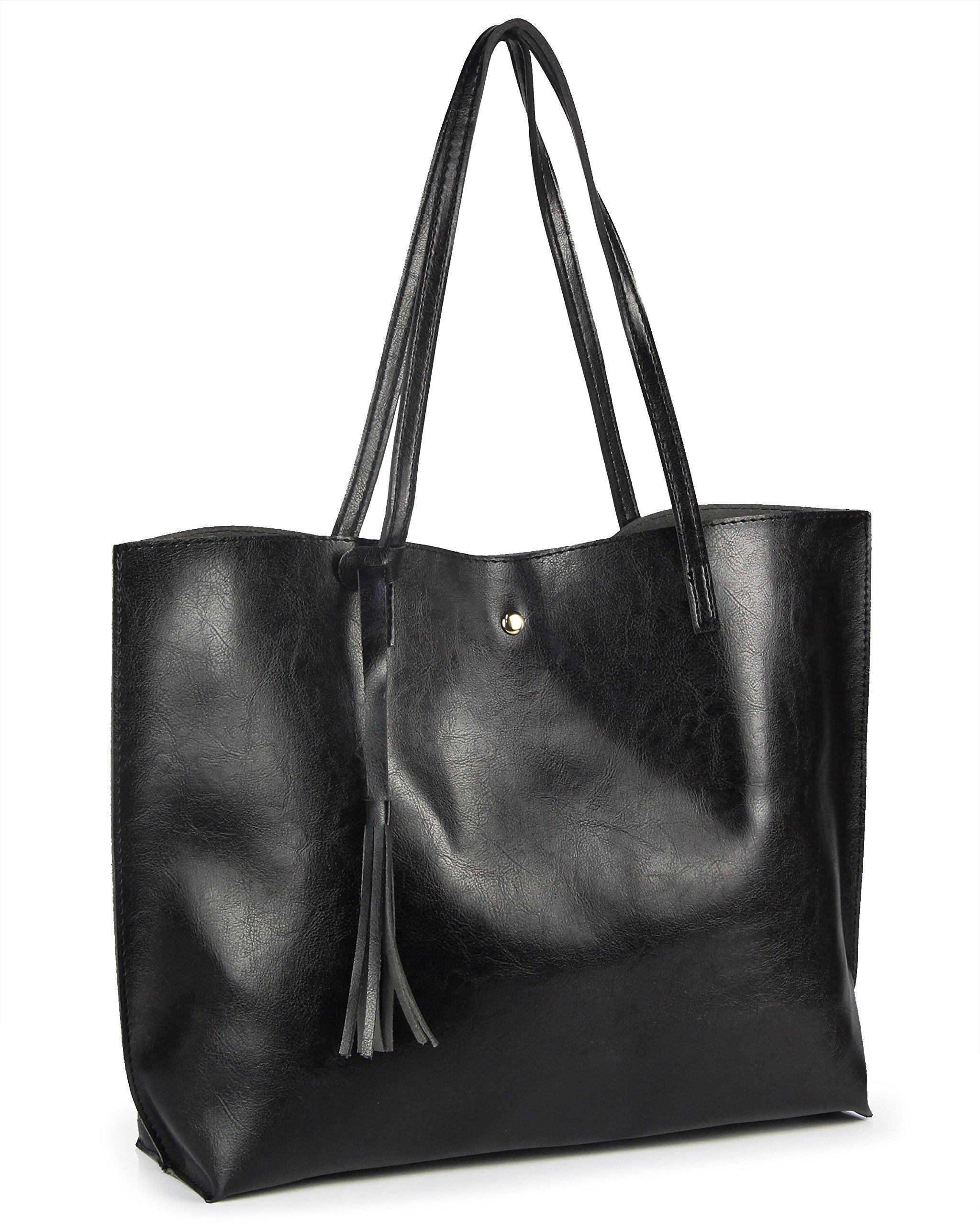 Work Handbags for Women Large Satchel Bags Tassels Pu Leather Tote Shoulder Handbags (Black)