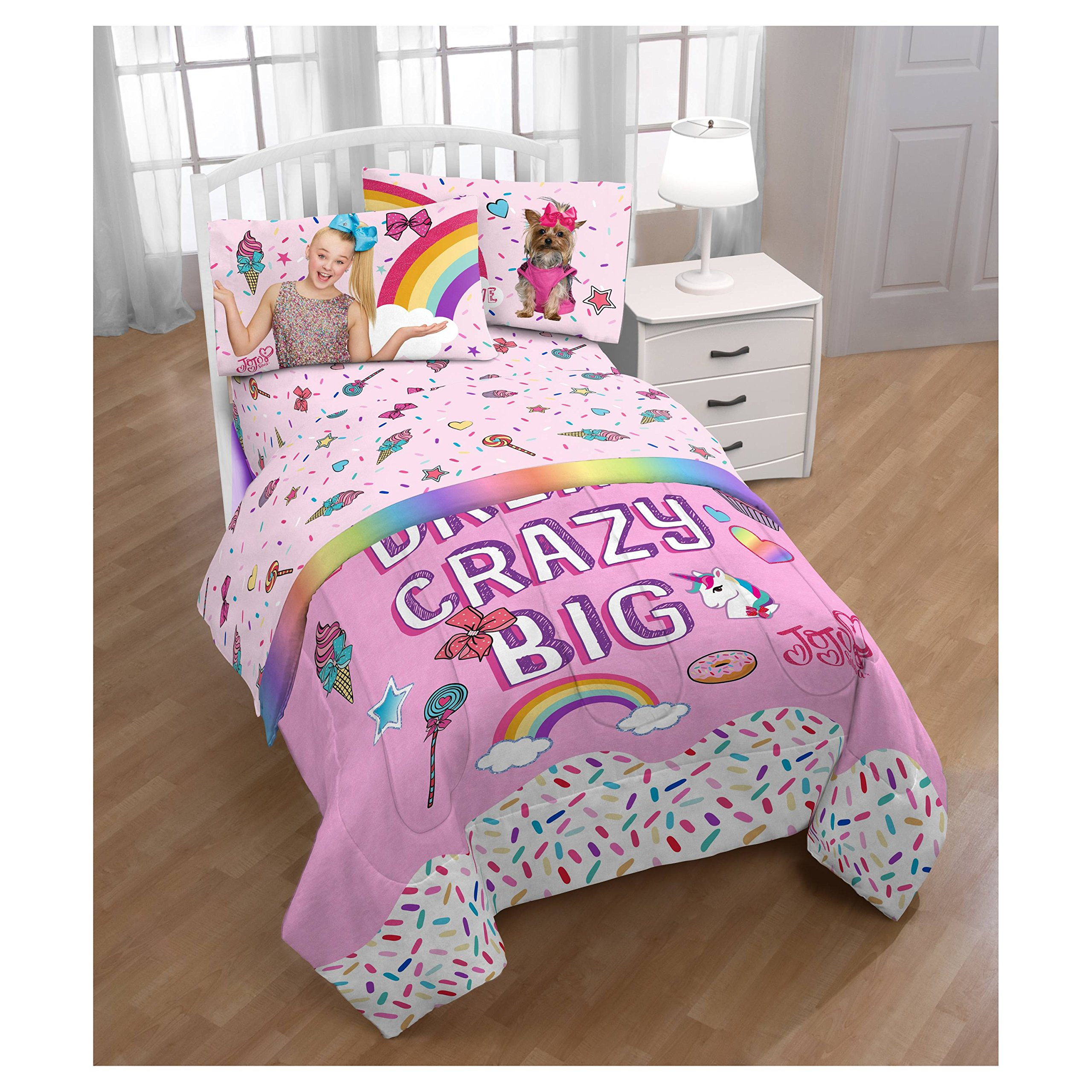 JoJo Siwa Twin Comforter and Pink Sheet Sets with Throw by Franco