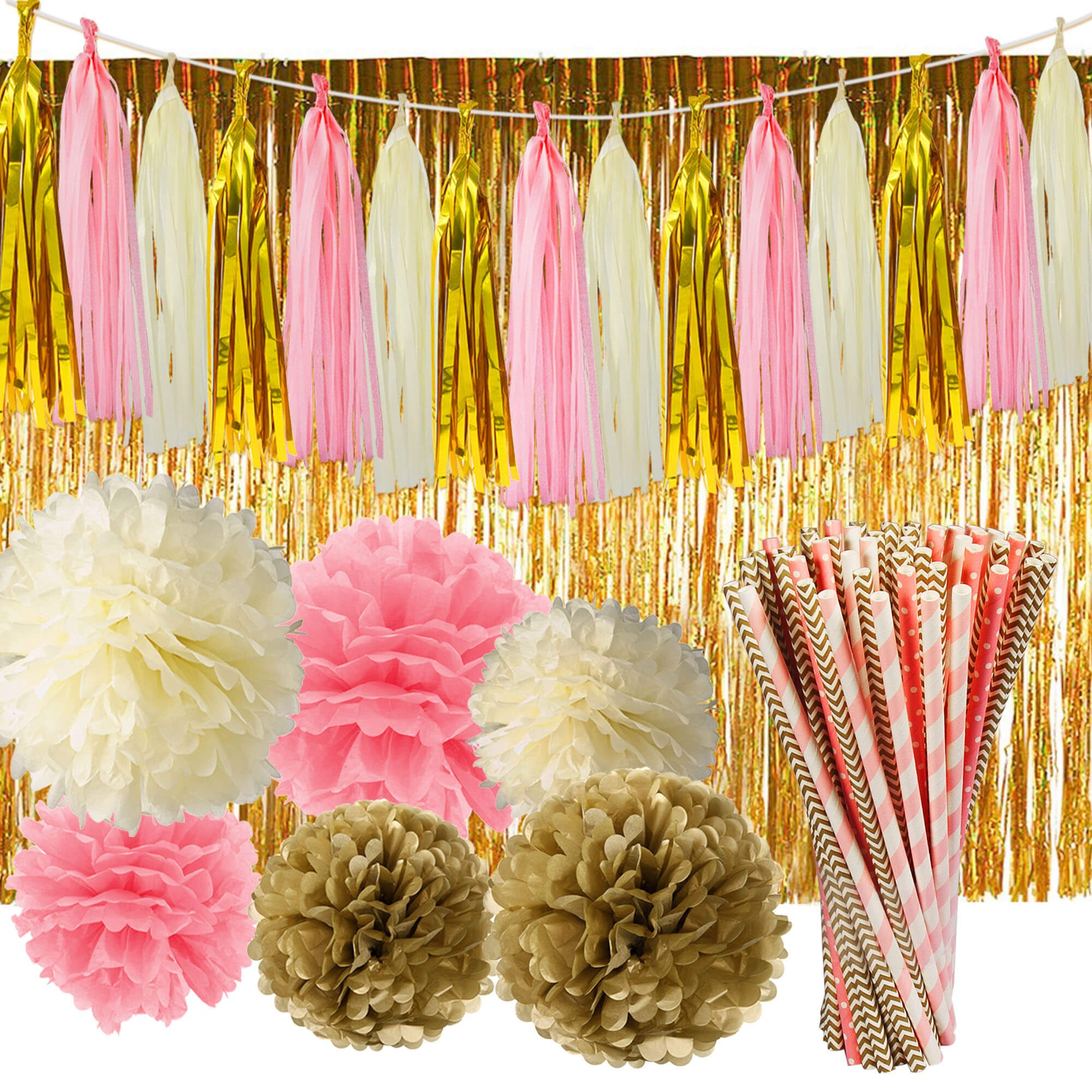 Paxcoo 97 Pcs Pink and Gold Party Supplies with Tassel Garland Paper Flower Pom Poms and Fringe Curtain for Baby Shower Girl 1st Birthday Decorations