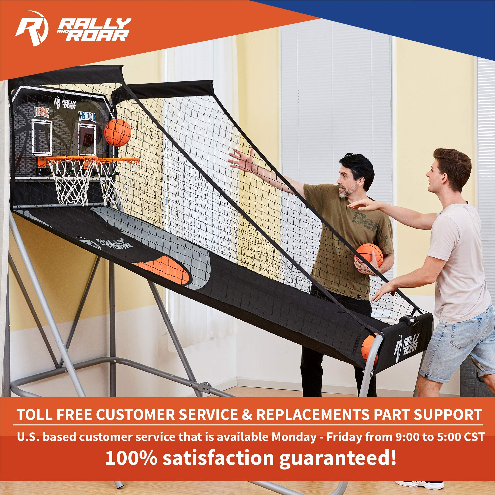 Classic Shootout Basketball Arcade Game, Home Dual Shot with LED Lights and Scorer - 8-Option Interactive Indoor Basketball Hoop Game with Double Hoops, 7 Basketballs, Pump - Foldable Space Saver by Rally and Roar (Image #7)