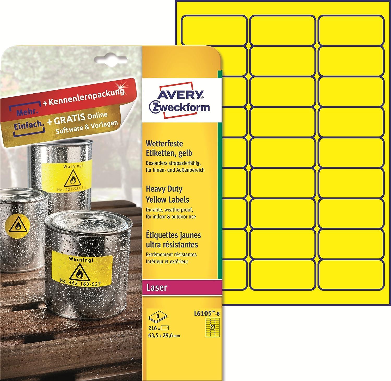 Avery Italia L6105-8 Etichette in Poliestere, 63.5 x 33.9 mm
