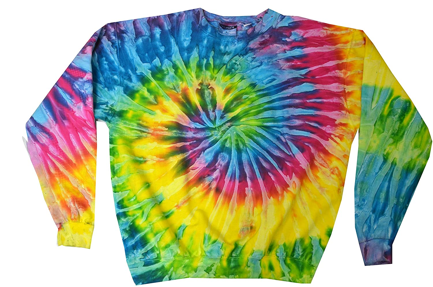 Amazon Colortone Tie Dye Crew Neck Fleece Sweatshirt Clothing