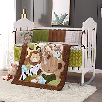 Wowelife Baby Boy Sports Bedding 3 Piece Brown Crib Bedding Sets for Boys Brown-3 Piece