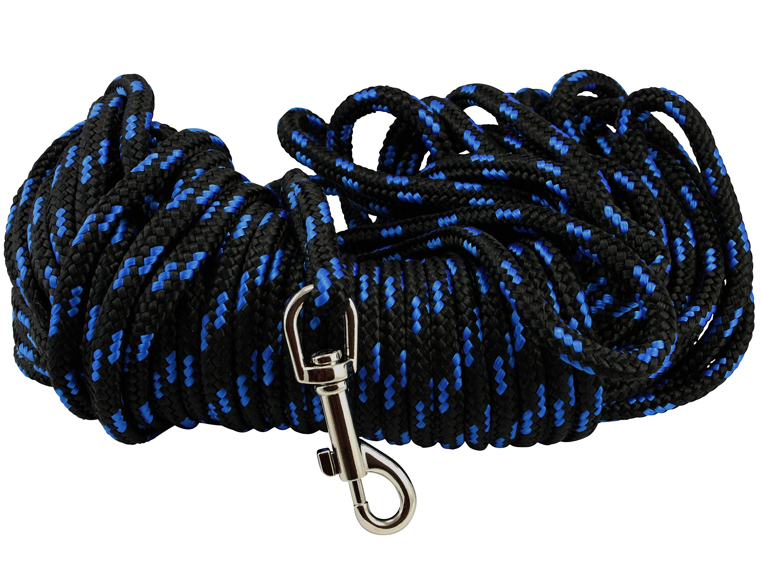 Dogs My Love Braided Nylon Rope Tracking Dog Leash, Black/Blue 15-Feet/30-Feet/45-Feet/60-Feet 3/8'' Diameter Training Lead Medium (60ft - Diam 3/8'' (8mm)) by Dogs My Love (Image #3)