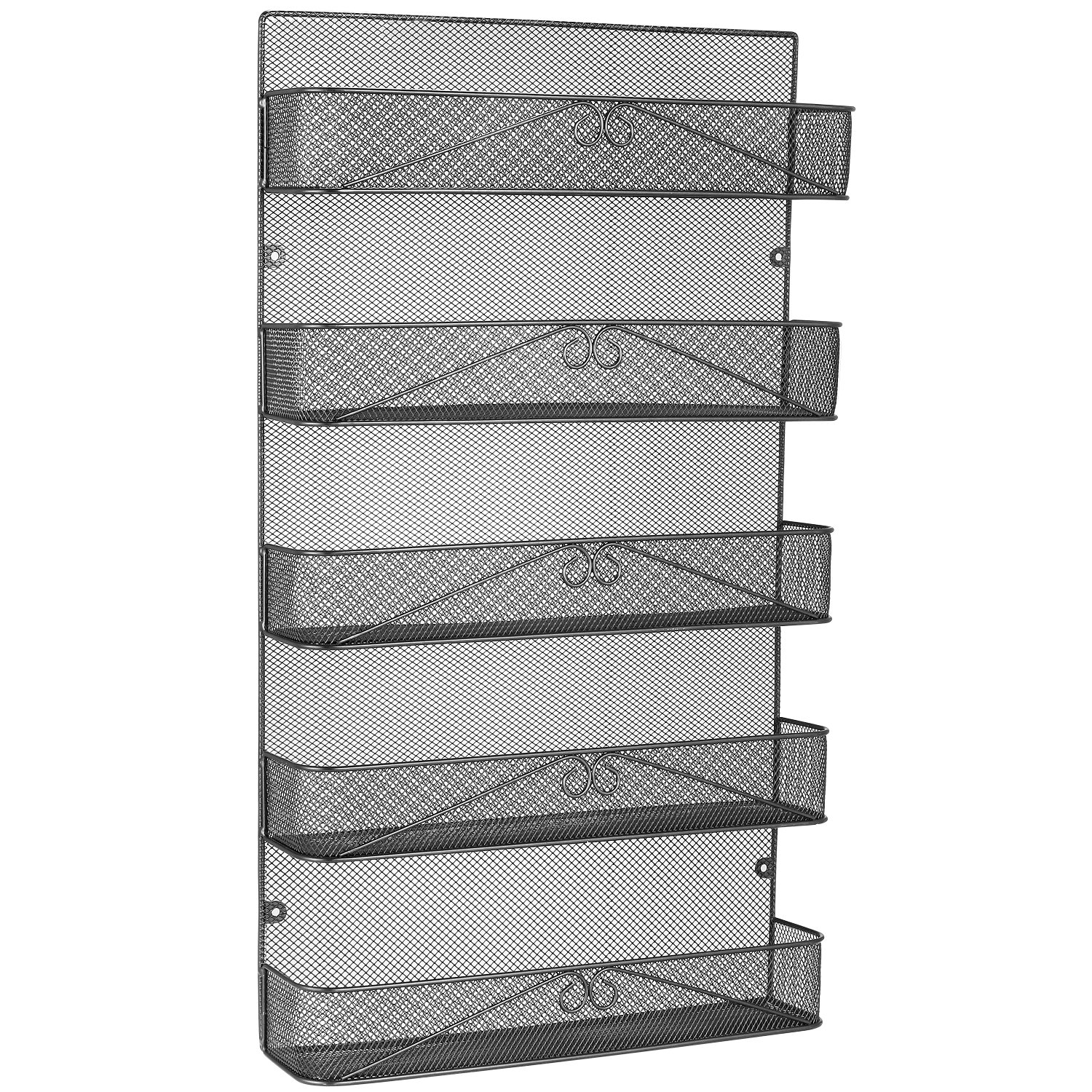 3S Spice Rack Organizer Wall Mount for Cabinet Pantry Door,Hanging Spice Shelf Full Cover,5-Tier,Black by 3S