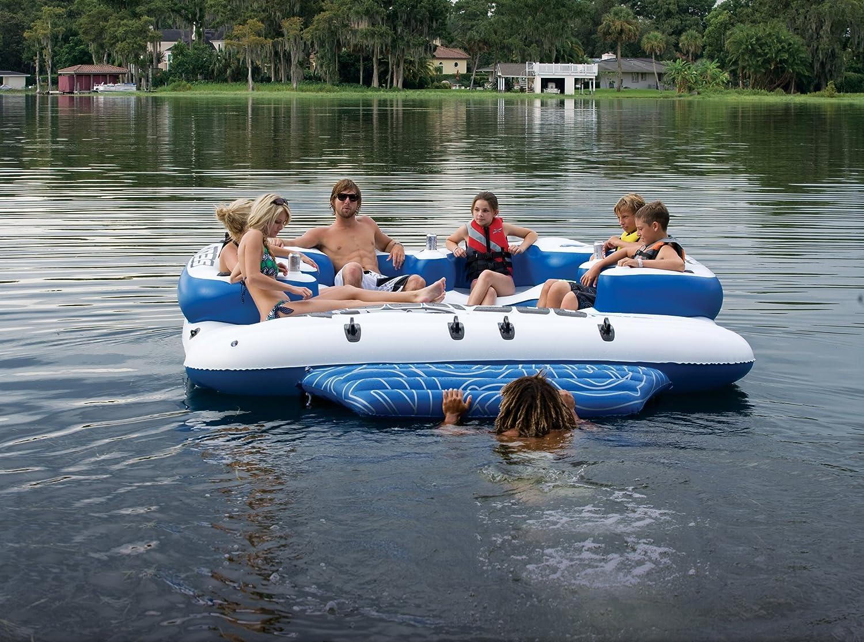Mar-Doo 8 persona Mega inflable isla lago flotador/4 altavoz ...