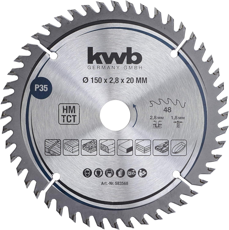 Hoja de sierra circular de precisi/ón para madera y madera dura 160 x 20 mm, corte fino, 48 dientes kwb 584568