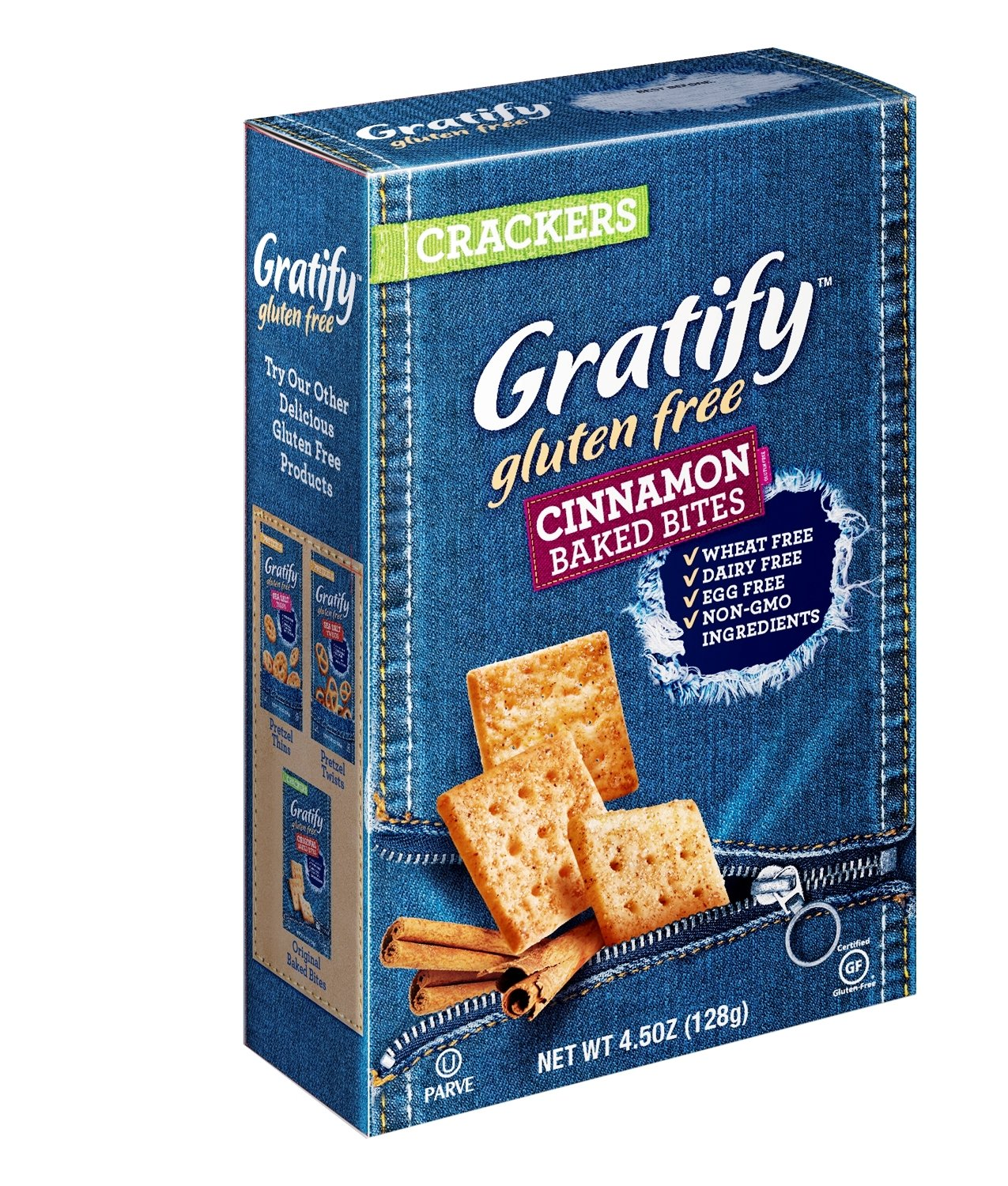 Gratify Gluten Free Crackers Bites Cinnamon and Sugar Crispy Baked Vegan GF Snacks, 4.5oz Bag (Pack of 12) by Gratify