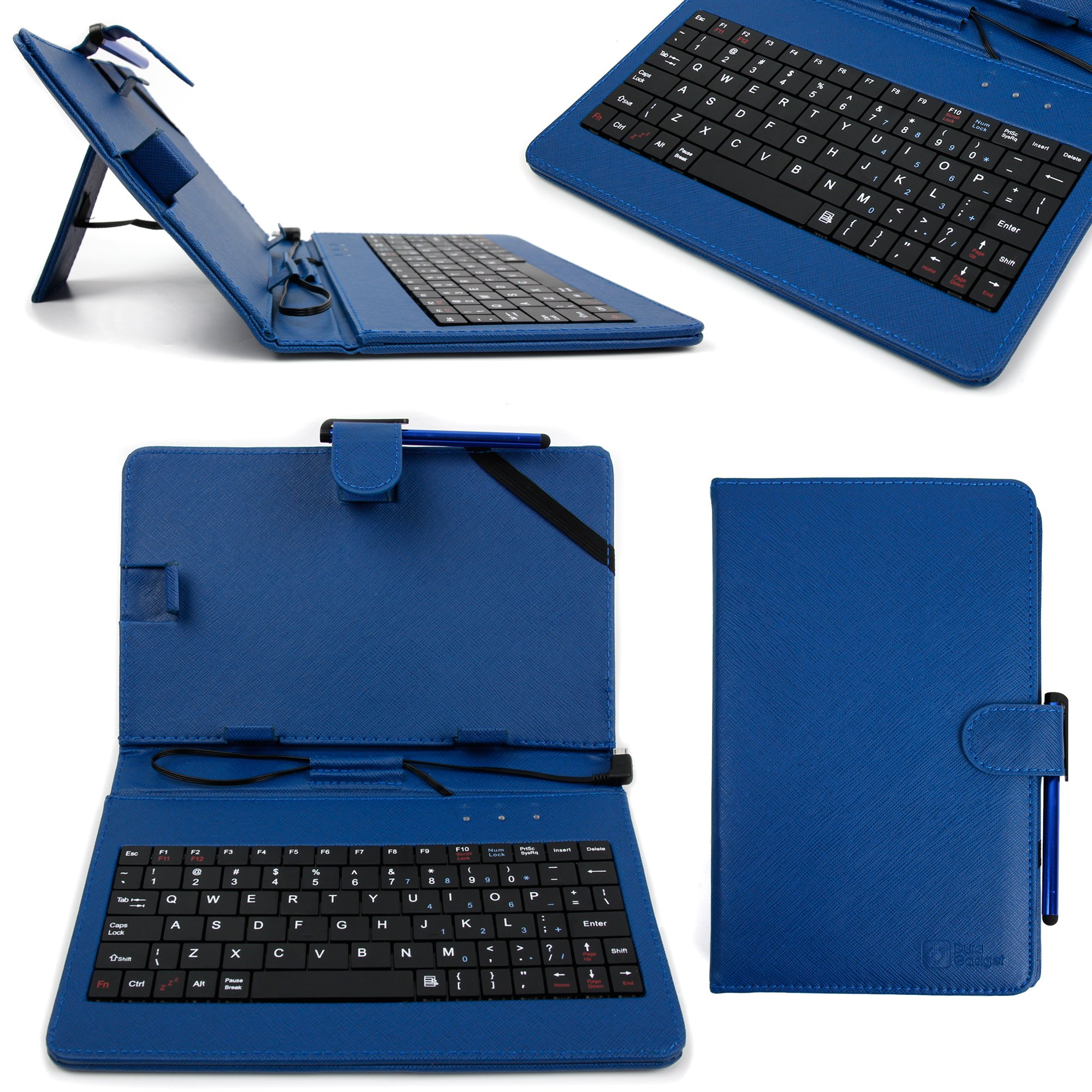 DURAGADGET Blue Faux Leather QWERTY Keyboard Case for LG G Pad 8.3 - with Micro USB Connector & Built-In Stand Function + BONUS Stylus Pen!