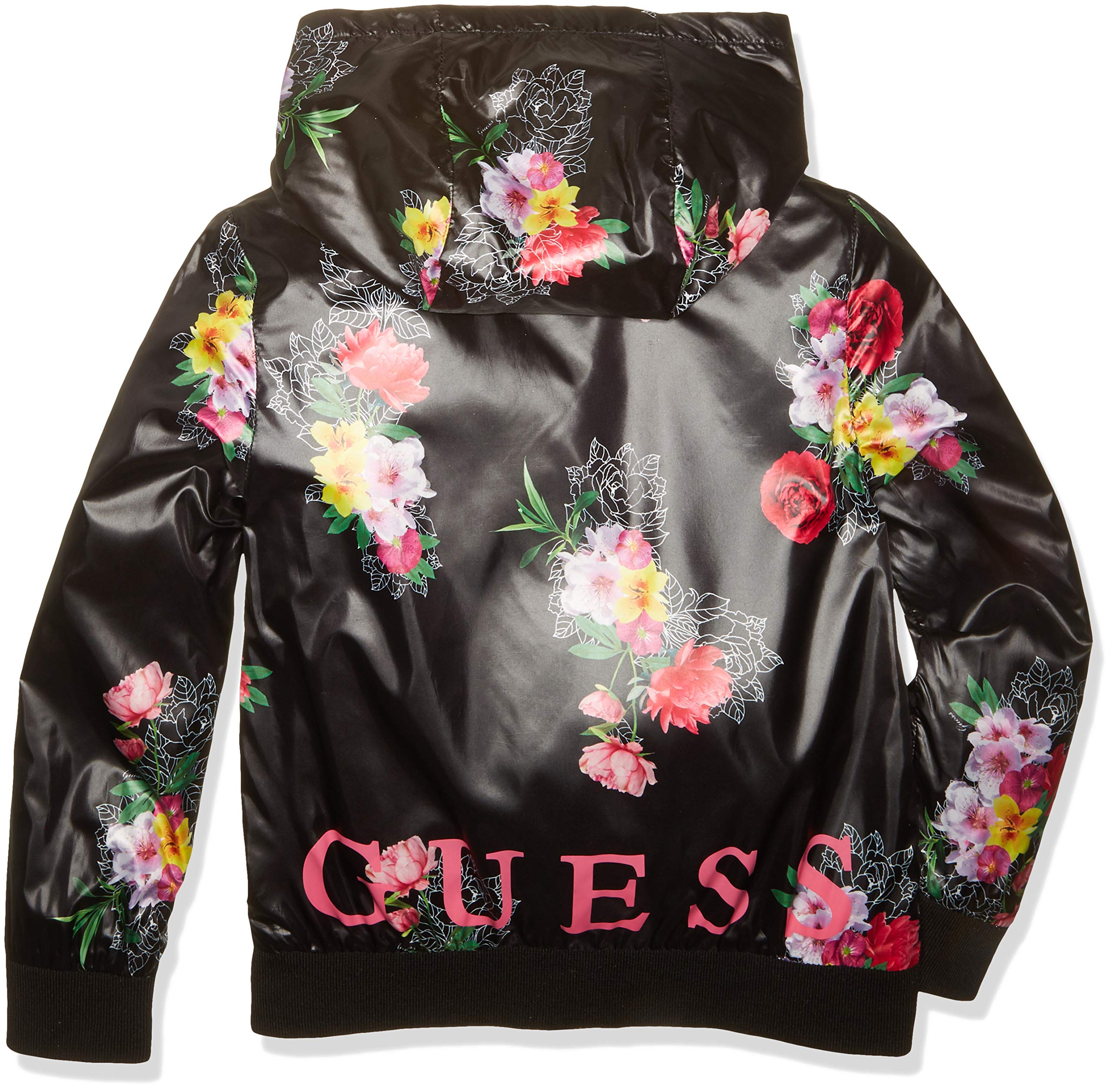 GUESS Girls' Big Floral Logo Graphic Zip UP Hoodie, Roses Boulevard Black 8 by GUESS (Image #2)