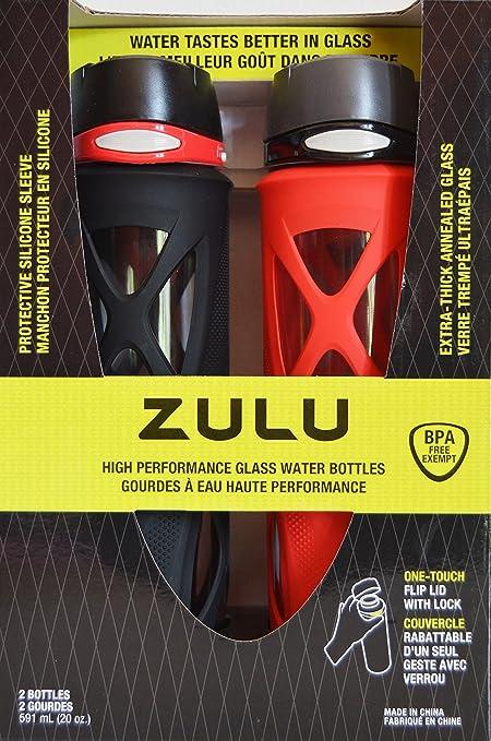 2fa679e581d Zulu 20oz High Performance Glass Water Bottles Black