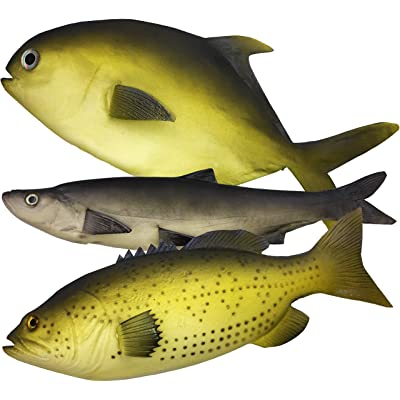 3 Large Artificial Fish 2018- 12 to 16 in - Premium Quality - Realistic Fake Fish - Best Looking Real Fish Perfect for Food Display or Food Photography Prop - Flexible Foam Material: Toys & Games